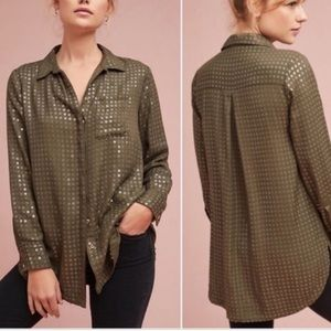 Anthropologie Maeve Sequin Button Down